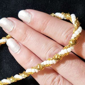 Monet Vintage Gold White Bead Necklace Chain